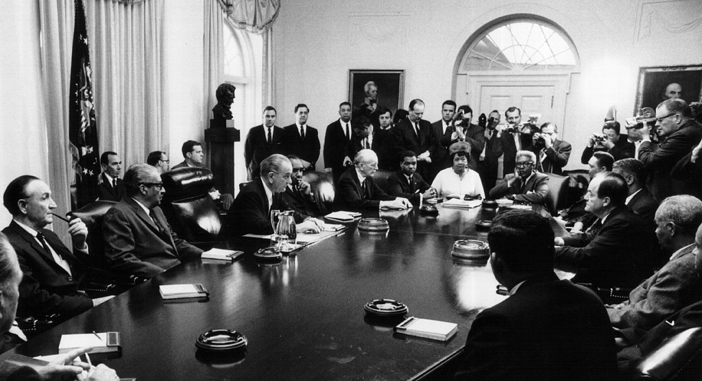 After Martin Luther King Jr.'s assassination, President Lyndon B. Johnson met with civil rights leaders at the White House.