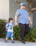 Jack Black walked his son Samuel to school in LA.