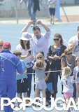 Ben Affleck, Jennifer Garner, and Violet Affleck cheered on Seraphina as she crossed the finish line at her track meet in LA's Pacific Palisades.
