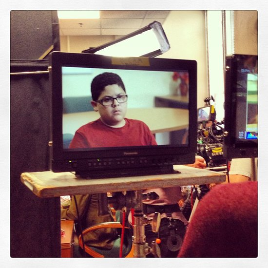Rico Rodriguez made a serious face on the Modern Family set. Source: Instagram user starringrico
