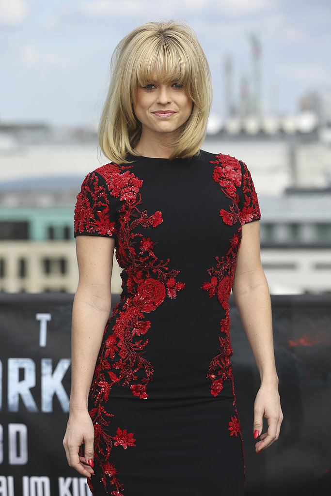 How gorgeous is the floral sequin detailing on Alice Eve's Reem Acra dress?