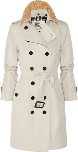 Burberry London Embellished mid-length cotton-twill trench coat