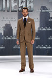 Chris Pine wore a patterned suit to the German premiere of Star Trek Into the Darkness.