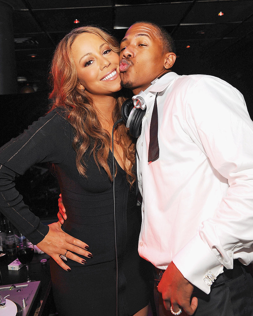 Nick Cannon puckered up to Mariah Carey in October 2009 at a Las Vegas party.