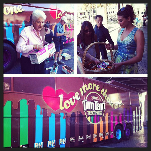 We bumped into Dawn Fraser and Stephanie Rice doing their Tim Tam challenge outside our office in Circular Quay. Source: Instagram user popsugaraucelebrity