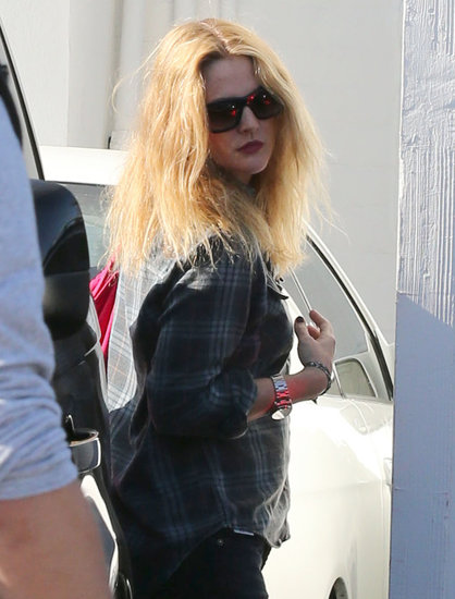 Drew Barrymore dyed her hair bright blond.