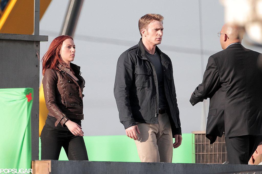 Scarlett Johansson and Chris Evans filmed a scene on a rooftop.