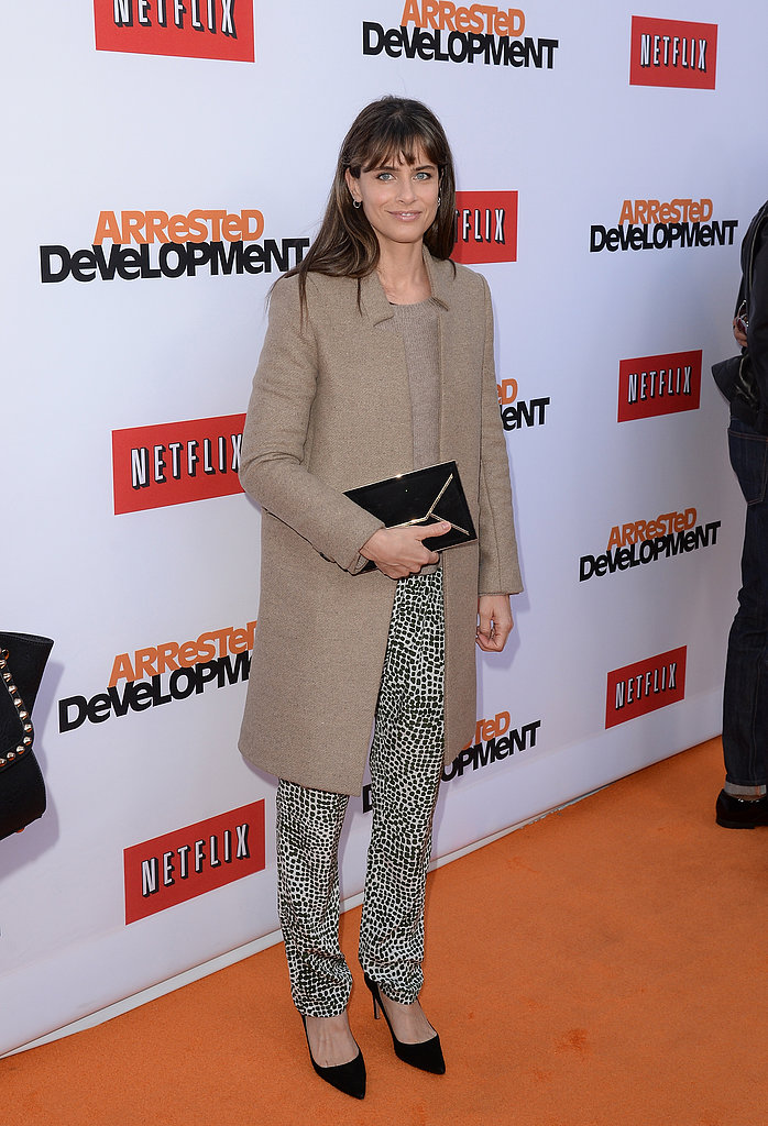 Amanda Peet dropped by the premiere of Arrested Development.