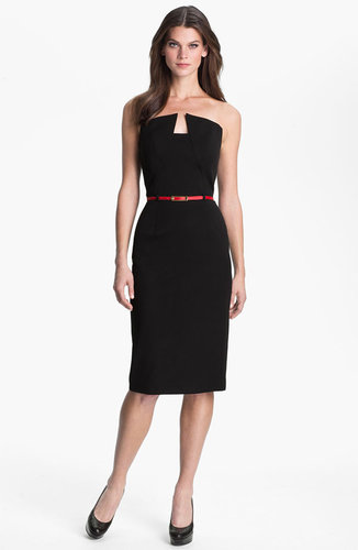 Black Halo 'Lena' Notch Neck Belted Sheath Dress