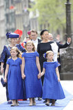 Catharina-Amalia, Alexia, and Ariane held hands as they left their father's inauguration ceremony.