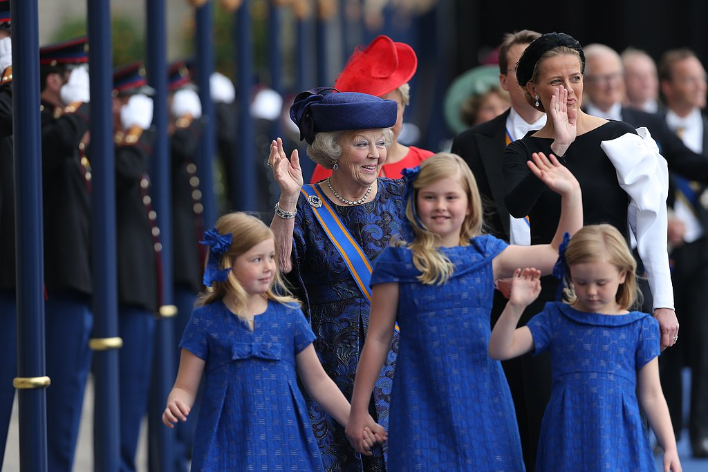 Dutch Princesses Catharina-Amalia, Alexia, and Ariane waved as they left the inauguration ceremony.