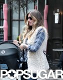 Gisele Bündchen wore a plaid shirt and furry vest with Vivian on Tuesday.