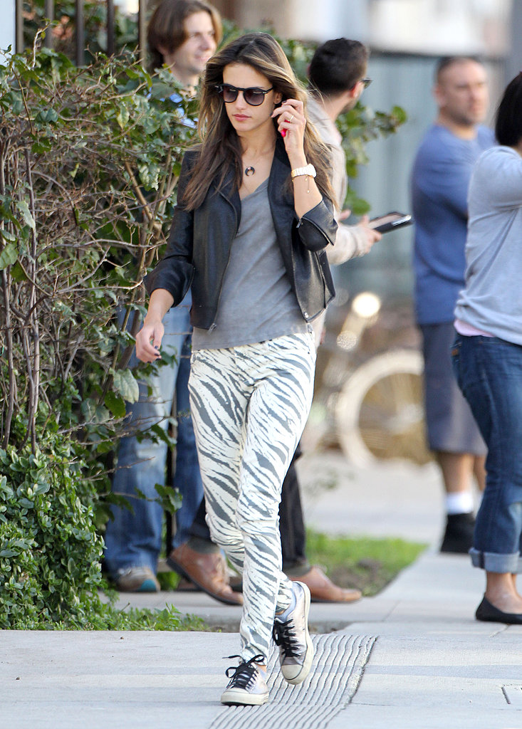 Call out your wild side in Alessandra Ambrosio's Sass & Bide zebra-print jeans ($108, originally $270). Sport them casually like the model did with sneakers in LA or dress them up with heels and a leather tee.