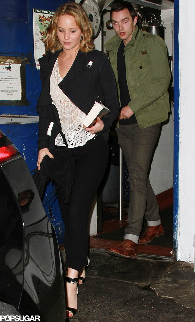 Jennifer Lawrence reunited with Nicholas Hoult for a dinner date at The Little Door in LA.