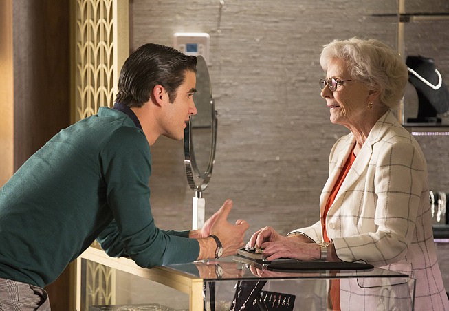 Blaine goes shopping for a ring (with Patty Duke!).