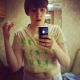 Lena Dunham snapped a pic of her new lizard-print tee. Source: Instagram user lenadunham