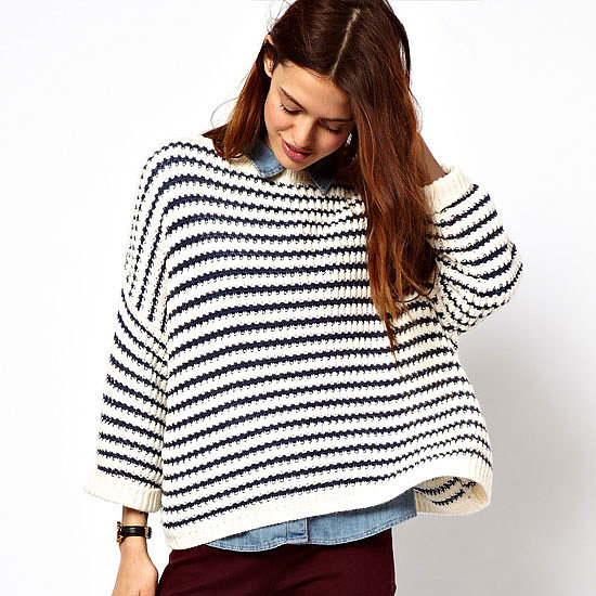 I can't get enough of stripes when it comes to being causal and cosy. Wear this relaxed style with something a little more form fitting on the bottom half, either a skirt and thick opaque tights or skinny jeans/leather pants. — Laura, shopstyle.com.au country manager  Knit, approx $30, ASOS