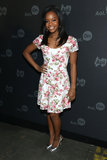 Gabby Douglas donned a floral frock.
