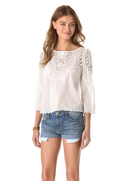 When the weather warms up, I need lightweight blouses that are also workweek appropriate. This Dolce Vita Alma Top ($176) is breezy and romantic with sheer lace panels, contrast embroidery, and a scallop bottom hem that can also work on the weekends with a pair of Levi's cutoffs.  — Meg Cuna