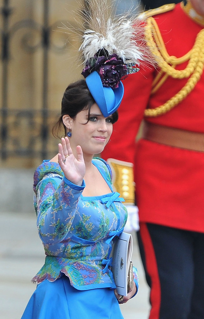 Princess Eugenie went the dramatic route for Prince William and Kate Midldeton's wedding, choosing a hat that featured flowers and feathers.