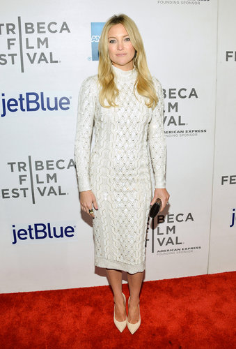 At the 2013 Tribeca Film Festival in NYC, Kate Hudson showed the sexier side of turtlenecks in a white Jenny Packham sweater dress and matching Casadei pumps.