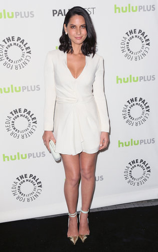 Olivia Munn was flirty yet chic in a plunging white J. Mendel dress and two-toned Manolo Blahnik ankle-strap pumps at PaleyFest in Beverly Hills.