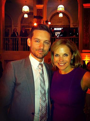 Katie Couric posed with Tobey Maguire at a press luncheon for The Great Gatsby. Source: Twitter user katiecouric