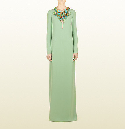 Pale Jade Light Sablé Gown With Hand Embroidered Floral Neckline