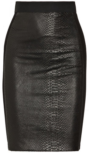 Mason by Michelle Mason Snake-effect leather and ponte pencil skirt