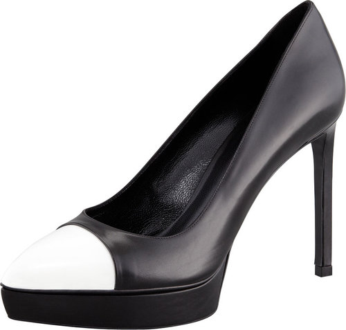 Saint Laurent Janis Two-Tone Cap-Toe Platform Pump