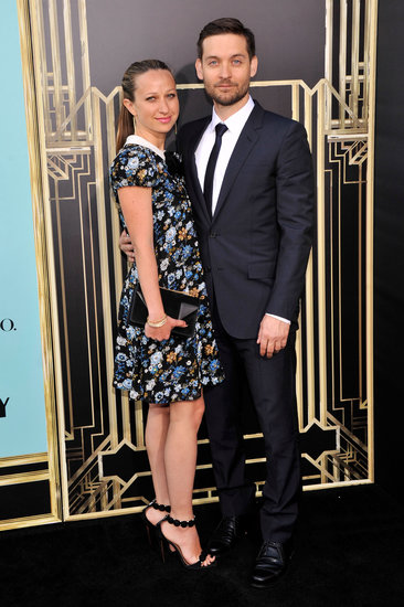 Cute couple Tobey Maguire and Jennifer Meyer both wore Saint Laurent to the premiere of The Great Gatsby.