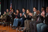 Jenna Fischer, Rainn Wilson, Craig Robinson, Brian Baumgartner, John Krasinski, Oscar Nunez, and Paul Lieberstein on The Office.