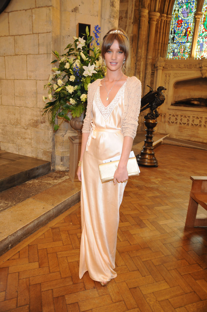 Rosie Huntington-Whiteley glowed in London in June 2008 while at Jack MacDonald and Leah Wood's wedding ceremony.