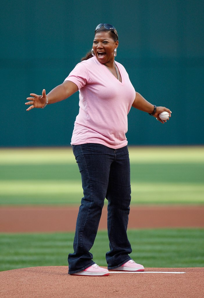 Queen Latifah worked the pitcher's mound at a New York Yankees vs. Cleveland Indians game in October 2007.
