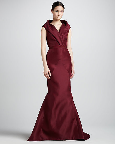 Nothing is more glamourous than a mermaid gown with a shawl collar. If you're looking for something with high impact that's also black-tie appropriate, this J. Mendel gown ($4,800) is a showstopper and will photograph beautifully in this deep shade of burgundy.