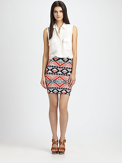 With this vibrant little BCBG Max Azria Starr Saffron printed body-con skirt ($198), you need little else but a white blouse to perfect your Cinco de Mayo look.