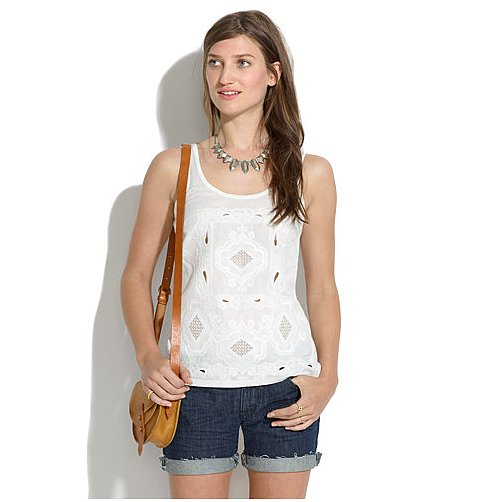 If you're not into bright colors or bold details, this Madewell embroidered paisley tank ($78) offers a subtler approach with understated embroidery. Dress it up with gold jewelry and great wedges.