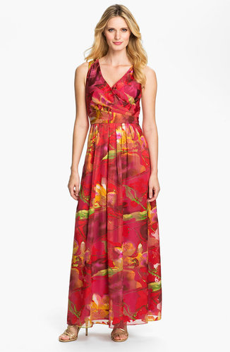 Donna Ricco Surplice Print Maxi Dress