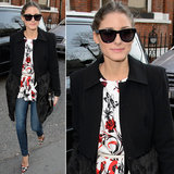 Olivia Palermo mixed prints in a floral peplum top and red printed pumps, then topped her London Fashion Week style with a fur-trim coat and the Children of California ($180) Westward Leaning sunglasses.