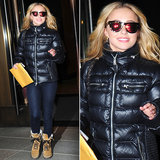 Hayden Panettiere accessorized her cool-weather look with a pair of red-hot mirrored shades by Westward Leaning.