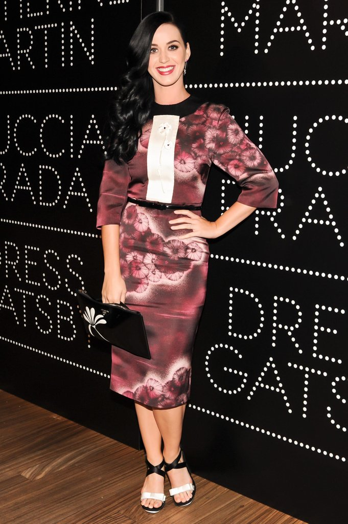 Katy Perry wore Spring 2013 Prada at the Catherine Martin and Miuccia Prada Dress Gatsby opening cocktail party in New York. Source: Billy Farrell/BFAnyc.com