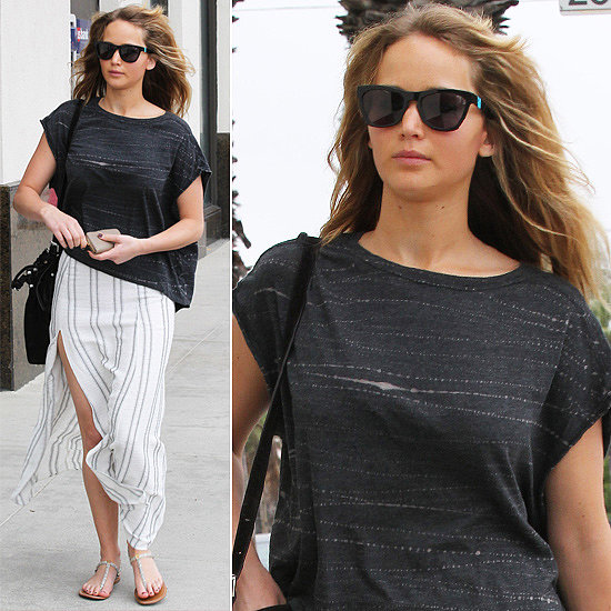 Jennifer Lawrence chose these Westward Leaning Sleeping Beauty  ($195) shades to top her striped maxi and boxy tee.