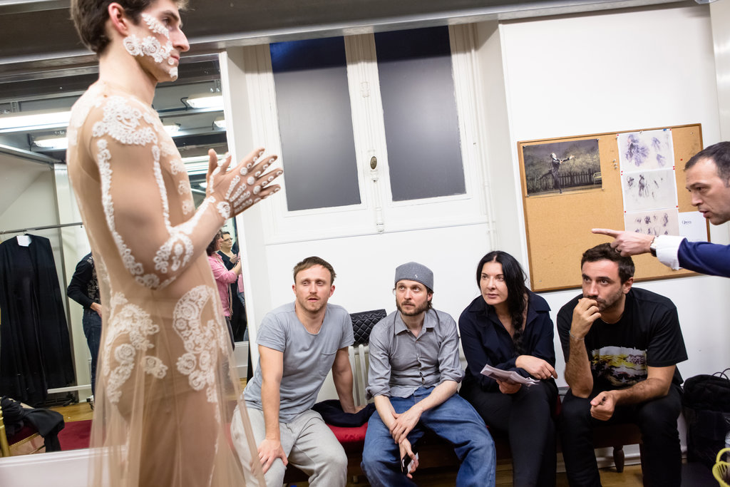 Tisci, second from right, at a fitting for the ballet. Photo: Agathe Poupeney, Opéra National de Paris