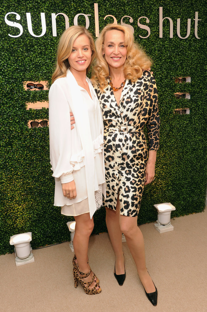 Georgia May Jagger and Jerry Hall at Sunglass Hut's Mother's Day celebration in New York.