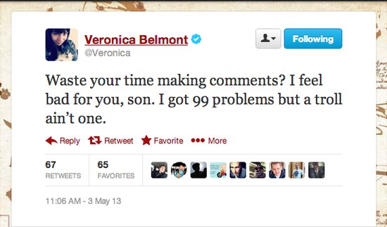 Veronica Belmont, host of The Sync Up, has a little rhyme for people who just make comments.