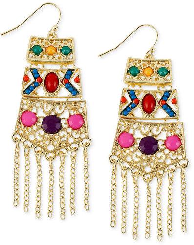 Macy's Haskell Earrings, Gold-Tone Multi-Color Bead Fringe Chandelier Earrings