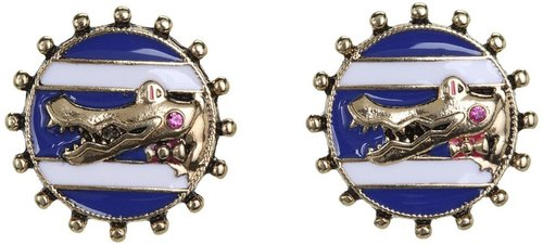 Betsey Johnson - Ivy League Alligator Cameo Stud Earrings (Navy/Antique Gold) - Jewelry