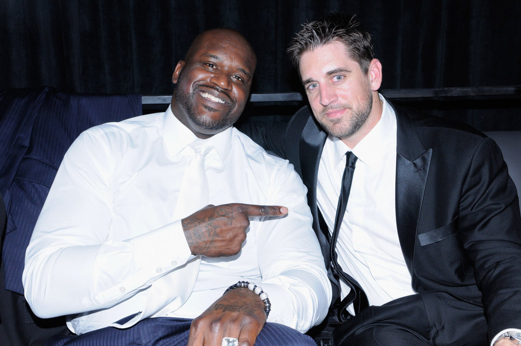 Shaquille O'Neal and Aaron Rodgers got together at the Maxim and Maker's 46 event on Friday night.