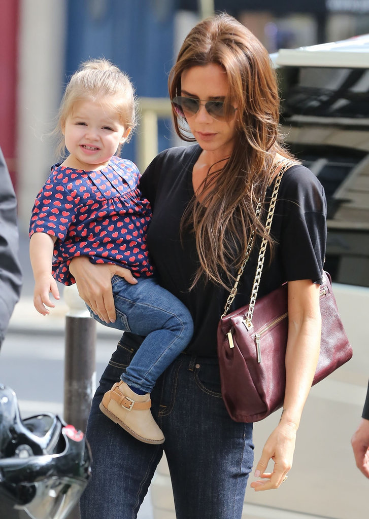 Victoria and Harper Beckham had a girls day in Paris on Saturday.