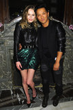 "Kate Bosworth — dressed in a cool black and emerald look — and Prabal Gurung posed together at the Moda Operandi ""midnight supper"" launch in honor of the online retailer's exclusive Punk Shop collection."